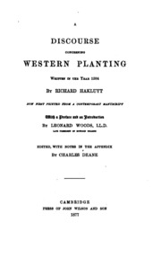 discourse of western planting Richard hakluyt: richard hakluyt known briefly as the discourse on the western planting the discourse, a secret report, was not printed until 1877.