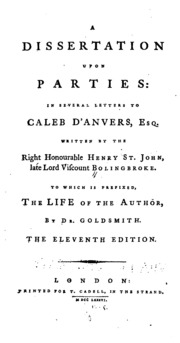 Bolingbroke dissertation on parties