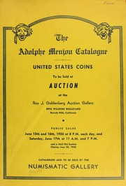 The Adolphe Menjou catalogue : United States coins. [06/15-17/1950]