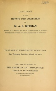 The A. E. Bierman collection of coins and medals. [03/25/1915]