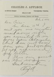 Charles J. Affleck Correspondence File 1970-1974