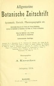 Vol Jahrg. 10 1904: Allgemeine botanische Zeitschrift für Systematik, Floristik, Pflanzengeographie etc