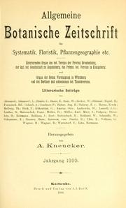 Vol Jahrg. 5 1899: Allgemeine botanische Zeitschrift für Systematik, Floristik, Pflanzengeographie etc