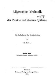 Allgemeine Mechanik der Punkte und starren Systeme: Ein Lehrbuch für Hochschulen