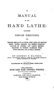 a manual of the hand lathe comprising concise directions. Black Bedroom Furniture Sets. Home Design Ideas