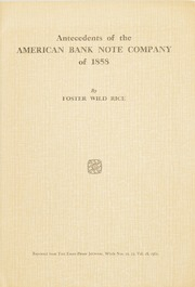 Antecedents of the American Bank Note Company of 1858
