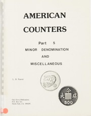 American Counters, Part 5: Minor Denomination and Miscellaneous