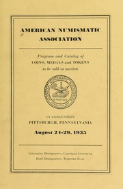 American numismatic association : program and catalog of coins, medals and tokens to be sold at auction. [08/24-29/1935]