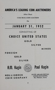 A.M. Kagin, Paul Kagin Present: America's Leading Coin Auctioneers Offer Their 113th Mail Coin Auction