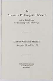 American Philosophical Society Lecture Correspondence File, 1970-1986