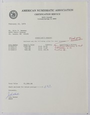 American Numismatic Association Certification Services, 1979