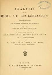 ecclesiastes analysis About the old testament of the bible summary and analysis the prophetic books: amos hosea isaiah  ecclesiastes, and proverbs.