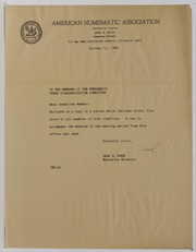 American Numismatic Association Numismatic Terms Standardization Committee Correspondence and Ephemera, 1966