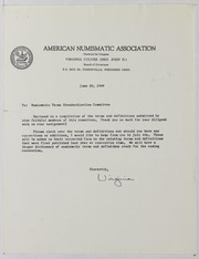 American Numismatic Association Numismatic Terms Standardization Committee Correspondence and Ephemera, 1969