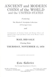 Ancient and Modern Coins of the World and the United States: Featuring the Martin F. Kortjohn Collection of Foreign Coins