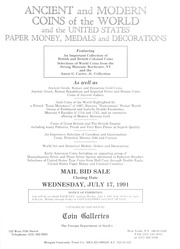 Ancient and Modern Coins of the World and the United States Paper Money, Medals and Decorations