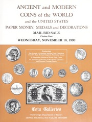 Ancient and Modern Coins of the World and the United States, Paper Money, Medals and Decorations