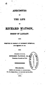 richard watson chemical essays All of the research and experiments used in these essays were done by watson himself while many of the findings and discoveries were not new to the science world, the experiments were genuine and true | ebay.