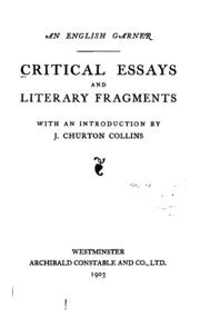 an essay of dramatic poesy john dryden thomas arnold  an english garner