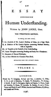 An Essay Concerning Human Understanding Book II - Early