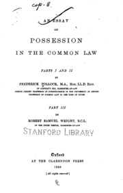an essay on possession in the common law pollock frederick sir an essay on possession in the common law