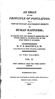 an essay on population malthus t r thomas robert  vol 2 an essay on the principle of population or a view of its past and present effects on human happiness