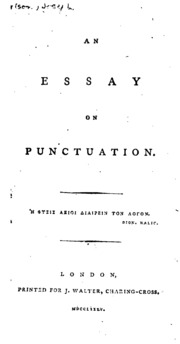 an essay on punctuation robertson j joseph  an essay on punctuation