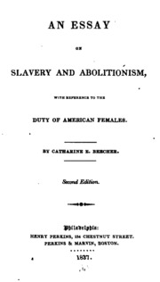 Catharine beecher an essay on slavery and abolitionism