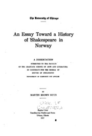 shakespeare the man an essay bagehot walter  an essay toward a history of shakespeare in