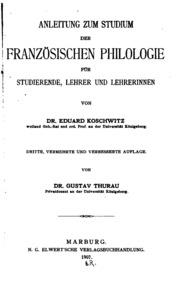 Anleitung zum Studium de französischen Philologie für Studierende, Lehrer und Lehrerinnen