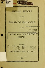 Annual report of the Board of Managers, Montana Soldiers' Home of the state of Montana, 1902