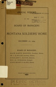 Annual report of the Board of Managers, Montana Soldiers' Home of the state of Montana, 1904