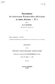 Descriptions de nouveaux formicides africains et notes diverses - II