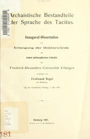Archaistische Bestandteile der Sprache des Tacitus