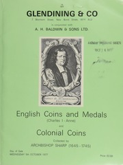 Archbishop Sharp Collection (1645-1745) : Catalogue of English coins and medals, (Charles I - Anne), including gold coins, [containing] a Commonwealth, half-unite, 1660, m.m. anchor; [and] silver and copper coins,  ... [10/05/1977]