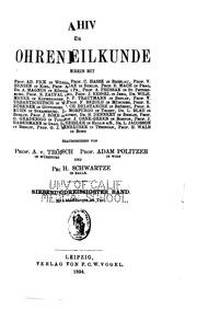 Vol 37-38: Archiv fuer ohrenheilkunde
