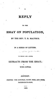 a reply to the essay on population by the rev t r malthus in a  a reply to the essay on population by the rev t r malthus in a series of letters to which