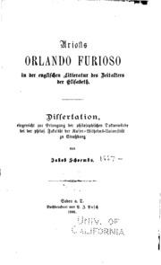 Ariosts Orlando Furioso in der englischen Litteratur des Zeitalters der ...