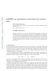 KATRIN: an experiment to measure the neutrino mass