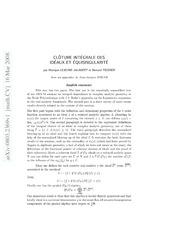 Clôture intégrale des idéaux et équisingularité