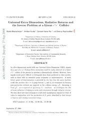 Universal Extra Dimensions, Radiative Returns and the Inverse Problem at a Linear e e- Collider