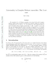 Universality in Complex Wishart ensembles: The 2 cut case