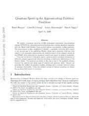 Quantum Speed-up for Approximating Partition Functions