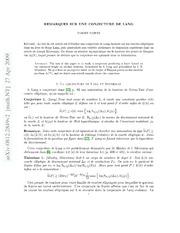 Remarques sur une conjecture de Lang