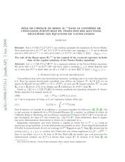 Rôle de léspace de Besov $mathbf{B} {infty}^{-1,infty}$dans le contrôle de léxplosion èventuelle en temps fini des solutions régulières des équations de Navier-Stokes