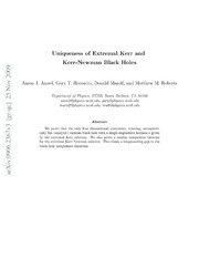 Uniqueness of Extremal Kerr and Kerr-Newman Black Holes