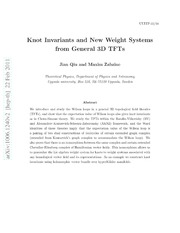 Knot Invariants and New Weight Systems from General 3D TFTs