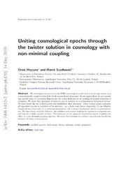 Uniting cosmological epochs through the twister solution in cosmology with non-minimal coupling