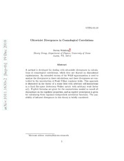 Ultraviolet Divergences in Cosmological Correlations