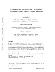 Wavelet-Based Prediction for Governance, Diversification and Value Creation Variables